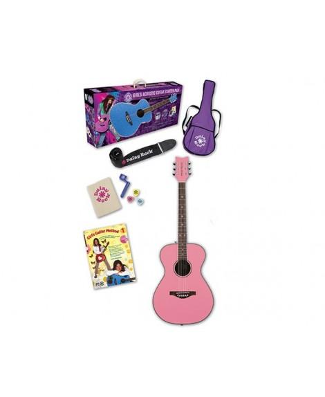 Pack Guitarra Acústica Daisy Rock Pixie Starter Pack Pink
