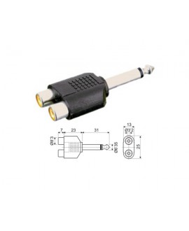 Adaptador Estéreo 6.35 mm a Doble Hembra RCA